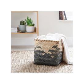 image-Black Bamboo Ombre Basket Black and Beige