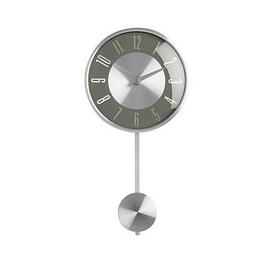 image-Premier Housewares Pendulum Metal Wall Clock