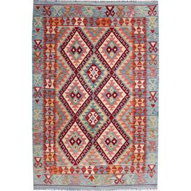 image-Albans Traditional Handmade Kilim Wool Red/Blue Rug Bloomsbury Market