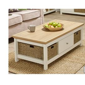 image-Donato MDF Chamfered Edge Top Coffee Table With Cream Oak Finished