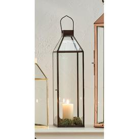image-Glass Lantern Rosalind Wheeler Colour: Matte Silver, Size: 59.5cm H x 17cm W x 17cm D