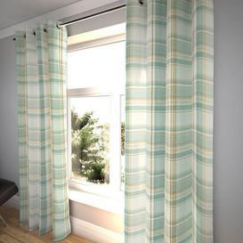 "image-Heritage Duck Egg Blue Tartan Curtains, 116cm(w) x 950cm(d) (46"" x 374"")"