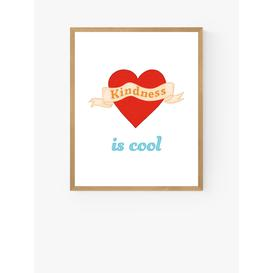 image-Kid of the Village - 'Kindness Is Cool' Wood Framed Print, 52 x 42cm, Red/Multi