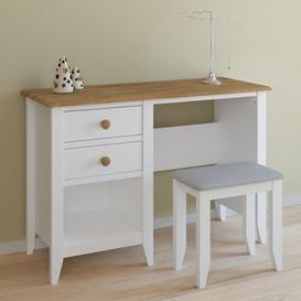 image-Heston Wooden Laptop Desk In White And Pine With Stool