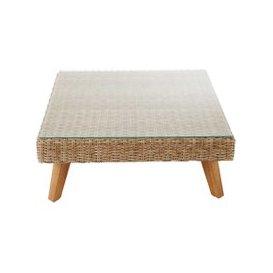 image-Wicker and tempered glass garden coffee table W 80cm Feroe