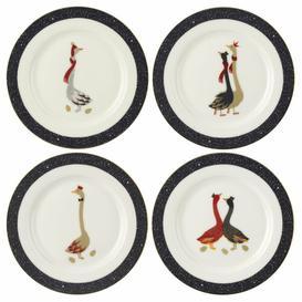 image-Sara Miller Christmas Geese4 Piece Dessert Plate Set Portmeirion