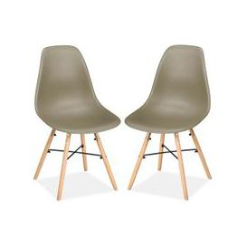 image-Pair of Hex Dining Chairs In Putty
