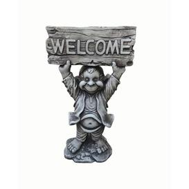 image-Welcome Hands up Gnome Garden Sign Statue Symple Stuff