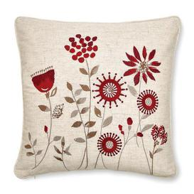 image-Scandi Field Embroidered Cushion Red
