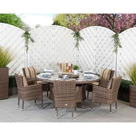 image-6 Seat Rattan Garden Dining Set With Large Round Dining Table in Truffle Brown - Cambridge