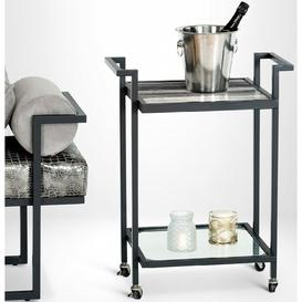 image-Stone International Billy Marble Bar Trolley with Metal Base