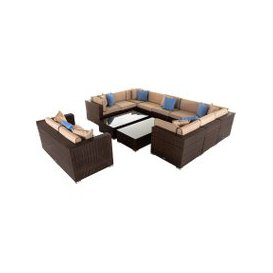 image-Geneva 8: Rattan Garden Corner Sofa Set in Chocolate and Cream