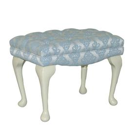 image-Loretta Dressing Table Stool Fairmont Park Upholstery: Linea Denim, Leg Finish: Light Oak