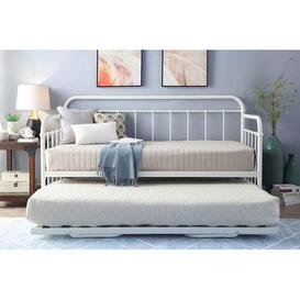 image-Mitre Daybed with Trundle Williston Forge Colour: White, Size: 23cm Single Sprung Memory Foam