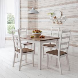 image-Canterbury Dining Table with 4 Chairs in Dark Pine & White 140cm