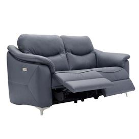 image-G Plan Jackson Leather 3 Seat Power Double Recliner W/Usb