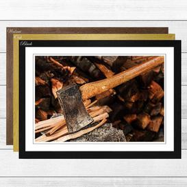 image-'Axe and Wood Log' Framed Photographic Print Big Box Art Frame Colour: Oak