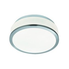 image-Discs Bathroom Lamp In Opal Glass Shape With Silver Trim
