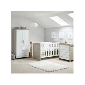 image-Obaby Nika Cot Bed 3 Piece Nursery Furniture Set - Grey Wash