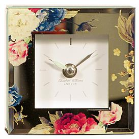 image-Floral Mirror-Glass Mantle Clock Marlow Home Co.