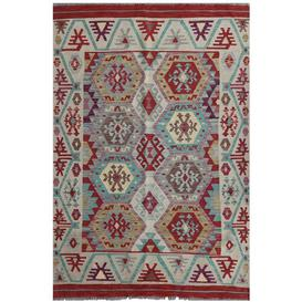 image-Mattituck Traditional Handmade Kilim Wool Red/Blue/Pink Rug Bloomsbury Market