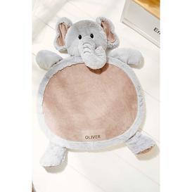 image-Personalised Grey Elephant Playmat