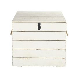 image-Aged Effect White Carved Fir Chest