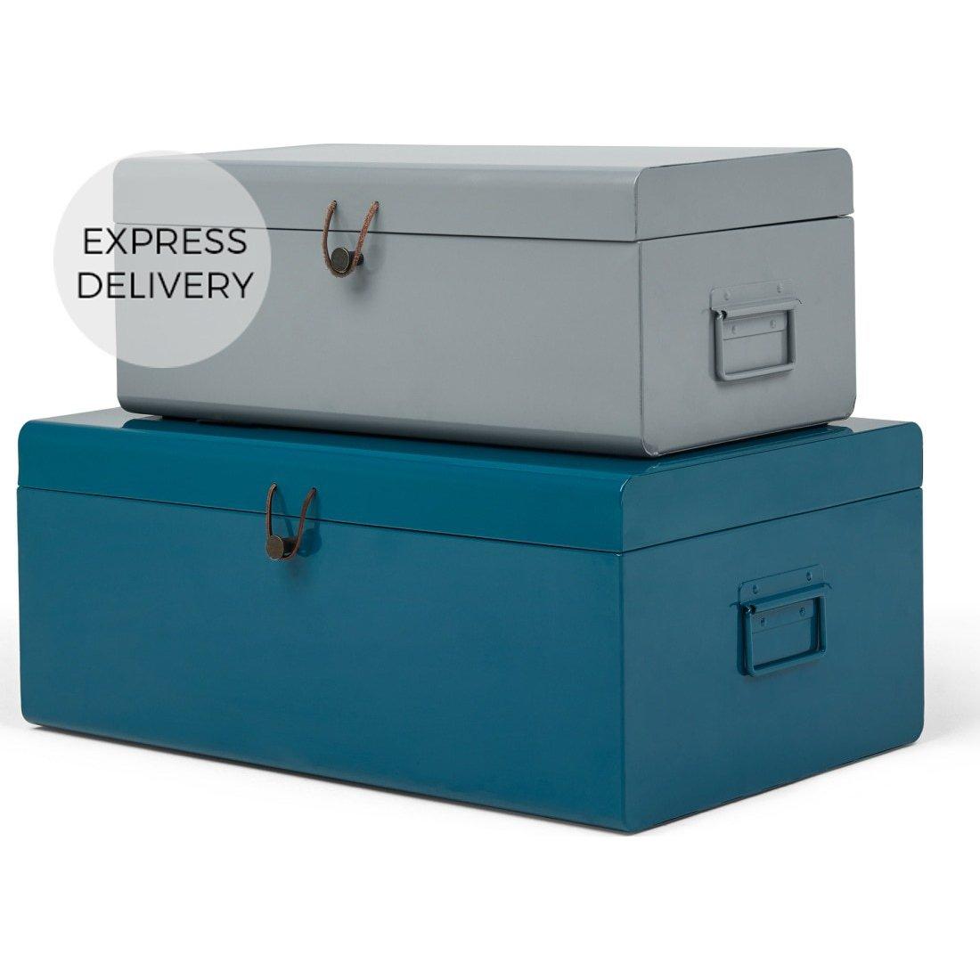 image-Daven Set of 2 Metal Storage Box Trunks, Teal & Grey