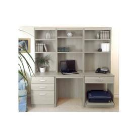 image-Small Office Desk Set With 3+1 Drawers, Printer Shelf & Hutch Bookcases (Grey Nebraska)
