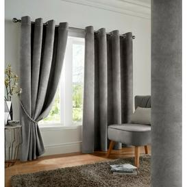 image-Cristina Eyelet Blackout Thermal Curtains Marlow Home Co. Colour: Silver, Panel Size: 116 W x 137 D cm