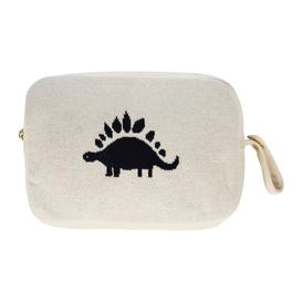 image-Retreat - Animal Knitted Travel Pouch With Blanket - Dinosaur