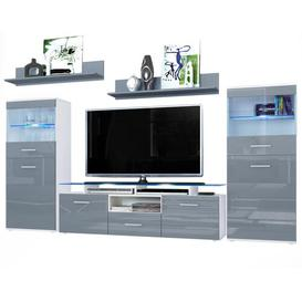 """image-Almada Entertainment Unit for TVs up to 78\"""" Vladon Colour: Glossy grey/Matt white, With lighting: Yes"""