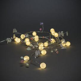 image-20 White LED String Lights with Green Leaves and Berries