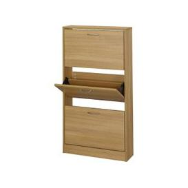 image-Nova Wooden Shoe Storage Cabinet In Oak With 3 Doors