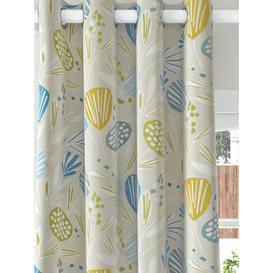 image-John Lewis & Partners Beata Print Pair Blackout Coated Eyelet Curtains