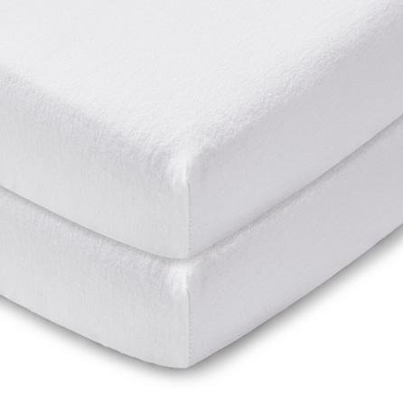image-Pack of 2 White 100% Cotton Flannelette Cot Fitted Sheets White