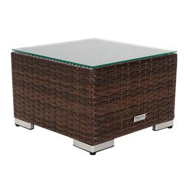 image-Small Square Rattan Garden Side Table in Brown - Rattan Direct