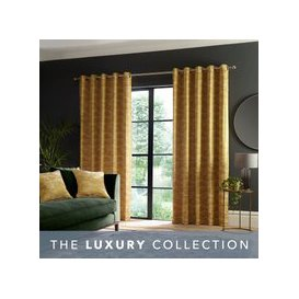 image-Luxe Texture Old Gold Eyelet Curtains Gold