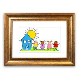 image-'Happy Children in the Sun' Framed Graphic Art in White East Urban Home Size: 70 cm H x 93 cm W, Frame Options: Gold