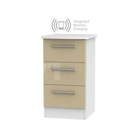 image-Knightsbridge 3 Drawer Bedside Cabinet with Integrated Wireless Charging - High Gloss Mushroom and White