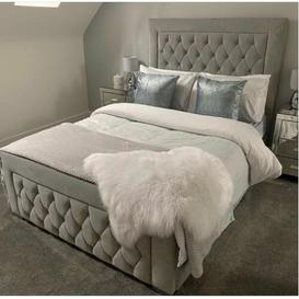 image-Kristian Upholstered Bed Frame with Fabric Buttons Ophelia & Co. Colour: Silver Grey Soft, Size: Kingsize (5')