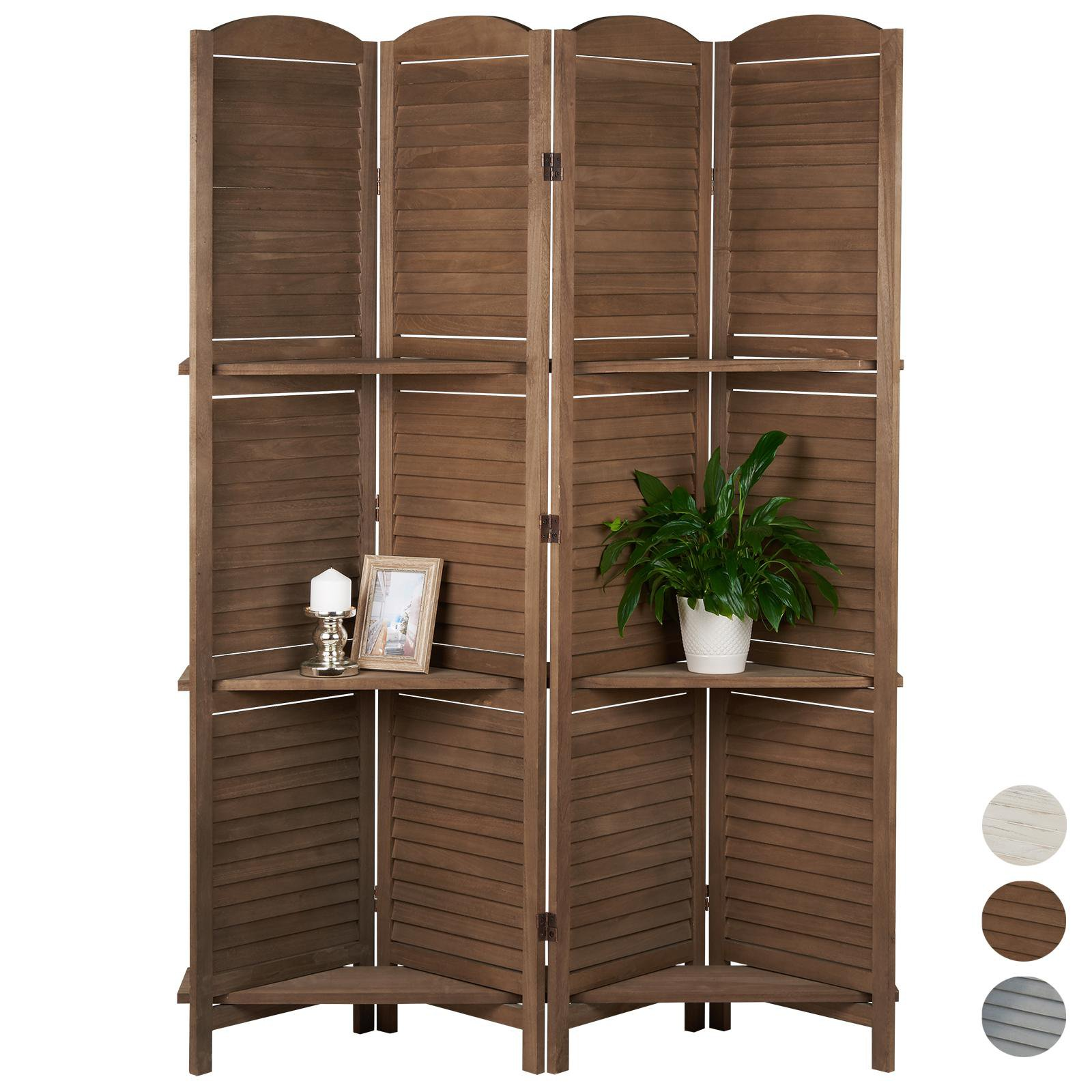 image-Hartleys 4 Panel Shabby Chic Room Divider - Brown
