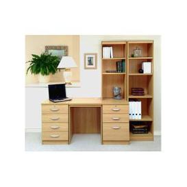image-Small Office Desk Set With 4+3 Drawers & Bookcases (Classic Oak)