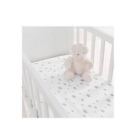 image-Silentnight Pack Of 2 Jersey Printed Stars Fitted Crib Sheets