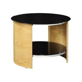 image-Bentwood Lamp Table Round In Oak With Black Gloss Top