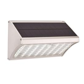 image-SOLARIS PRO - 8W LED Microwave Solar Wall Light in Silver - IP44 - 6500K - 1000LM - 86309.