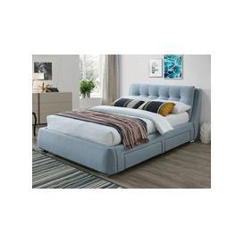 image-Artisan 3090 4 Drawer 5FT Kingsize Fabric Bedframe,Blue