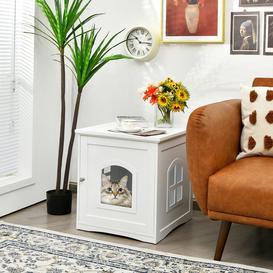 image-Cat Litter Box Enclosure Decorative Cat House Side Table W/Magnetic Door &Window