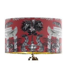 image-Classical Jungle Leopard 45cm Cotton Drum Table Lamp Shade Bloomsbury Market Colour: Red