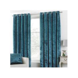 image-Verona Teal Velvet Eyelet Curtains Teal (Blue)